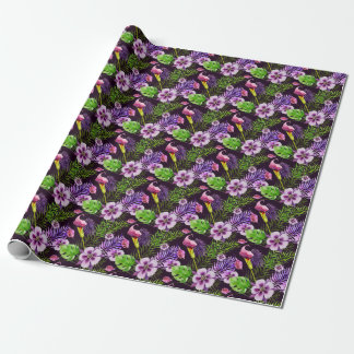 Black purple tropical flora watercolor pattern wrapping paper