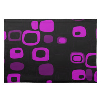 Black, Purple, Violet Retro Abstract Art Placemat