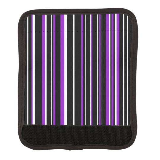 Black, Purple, White Barcode Stripe Luggage Handle Wrap