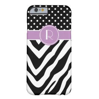 Black & Purple Zebra Polka Dots Custom Monogram Barely There iPhone 6 Case