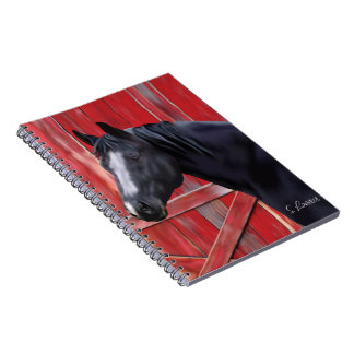 Black Quarter Horse Portrait Print Spiral Note Book