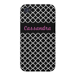 Black quatrefoil customize iphone 4 case / cover