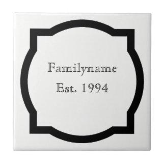 Black quatrefoil Family Name Sign Tile