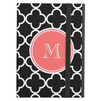Black Quatrefoil Pattern, Coral Monogram Case For iPad Air