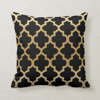 Black Quatrefoil Pattern on Gold Blend Throw Pillow