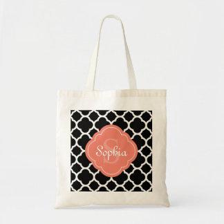 Black Quatrefoil Pattern Peach Monogram Tote Bag
