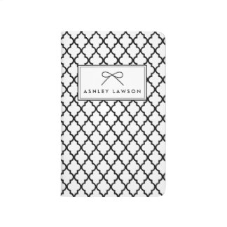 Black Quatrefoil  Pattern Personalized Journal