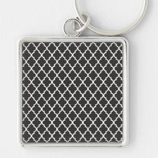 Black Quatrefoil Silver-Colored Square Keychain
