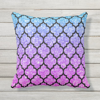 Black Quatrefoil With Pink & Blue Glitter Outdoor Pillow