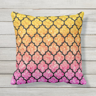 Black Quatrefoil With Pink & Yellow Glitter Throw Pillow
