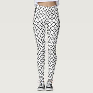 Black Quatrefoil with White Background Leggings