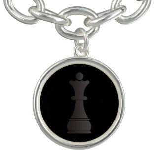 Black queen chess piece charm bracelets