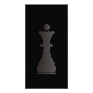 Black queen chess piece photo card template