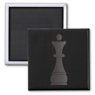 Black queen chess piece square magnet