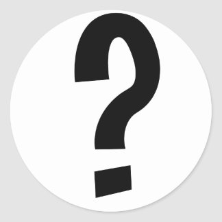 Black Question Mark Classic Round Sticker