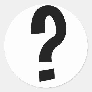 Black Question Mark Round Sticker
