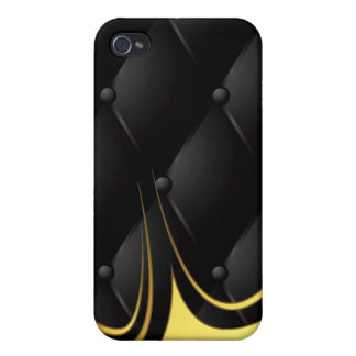 """Black Quilted """"Leather"""" Monogram ~ iPhone 4 Covers"""