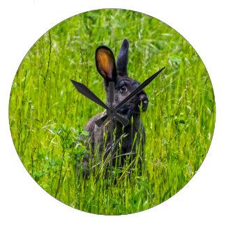 Black rabbit in grass the wall clock