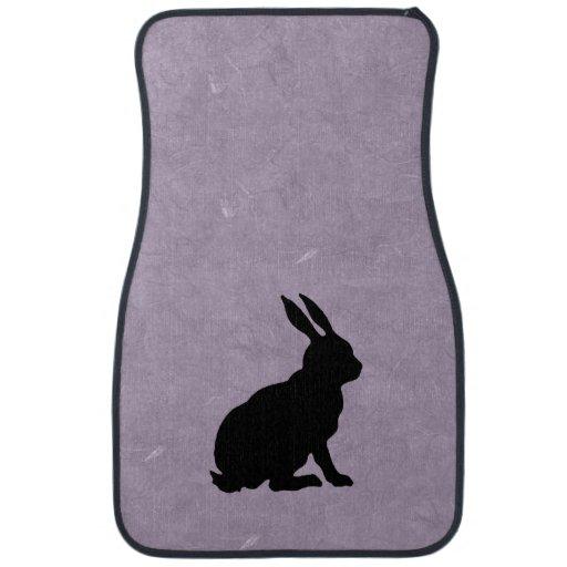 Black Rabbit Silhouette Easter Bunny Car Mat