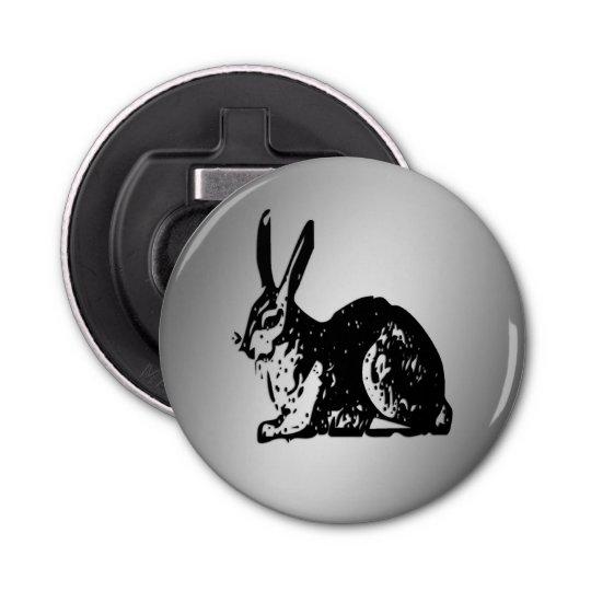 Black Rabbiton Silver Button Bottle Opener