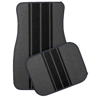 Black Race Double Stripes Car Mat