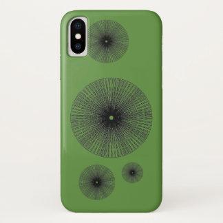 Black radial circle geometric spiral iPhone x case