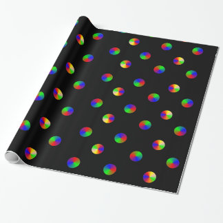 Black Rainbow Dots LGBT Gay Pride Wrapping Paper