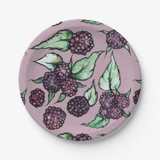 Black Raspberry Lover Pattern 7 Inch Paper Plate
