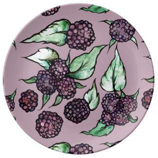 Black Raspberry Lover Pattern Porcelain Plate