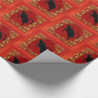 Black Rat Chinese Zodiac Animal Red and Gold Wrapping Paper