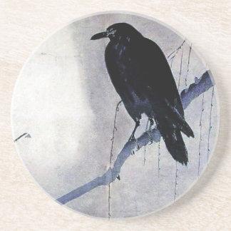 Black Raven Bird Antique Coaster