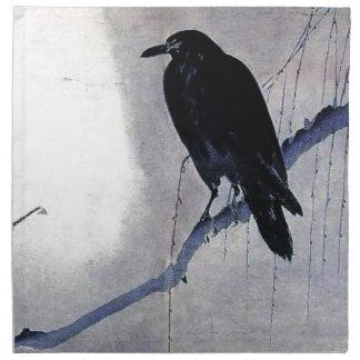 Black Raven Bird Antique Napkin