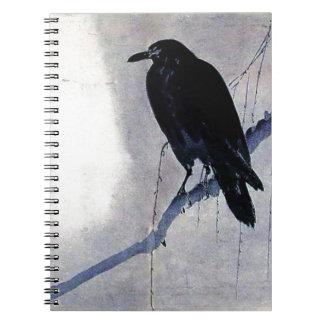 Black Raven Bird Antique Notebook
