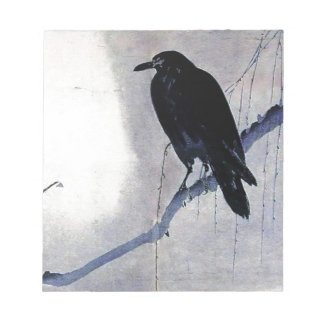 Black Raven Bird Antique Notepad