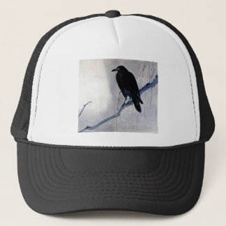 Black Raven Bird Antique Trucker Hat
