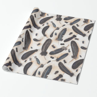 Black Raven Feathers Pattern Wrapping Paper