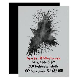 Black Raven Halloween Party Invitation