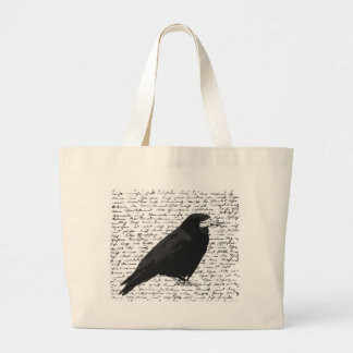 Black raven large tote bag