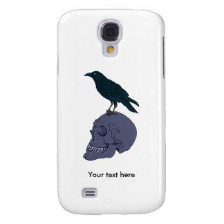 Black Raven On A Grey Human Skull