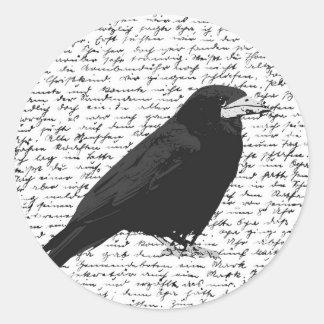 Black raven round sticker