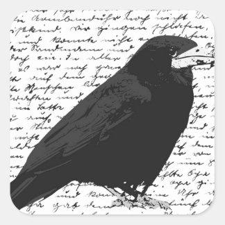 Black raven square sticker