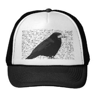 Black raven trucker hat