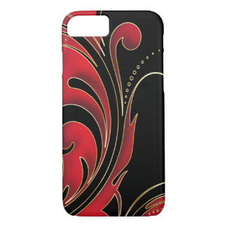Black, Red and Gold Swirly Print iPhone 7 Case