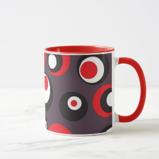 Black, Red and White Abstract Textile Coffee Mug