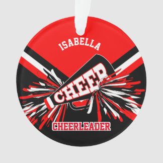 Black, Red and White Cheerleader Ornament