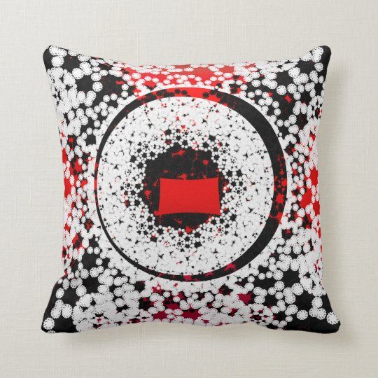 Black Red and white circle Throw Pillow