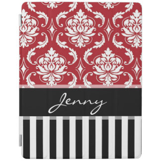 Black, Red and White Damask, Stripes, Monogram iPad Cover