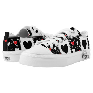 Black Red and White Hearts Gym Shoes
