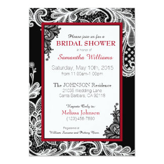 """Black Red and White Lace Bridal Shower 5"""" X 7"""" Invitation Card"""