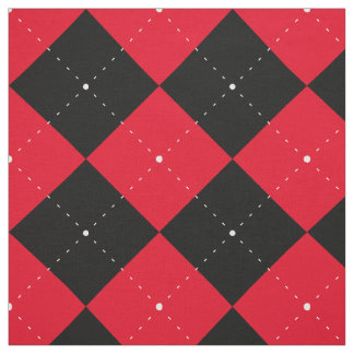 black red Argyle cross-hatched chess plaid Pattern Fabric